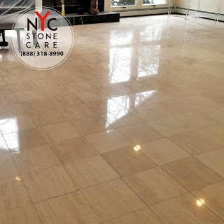 A Polished Finished Surface on a travertine floor 12 x12 tile in Long Island